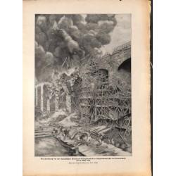 2218 WWI print 1914/18-Dammerkirch train railroad bridge explosion ,size:23,5 x 32,5 cm, printed on normal paper-,this pri