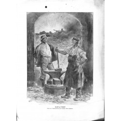 2225 WWI print 1914/18-soldier handcraft back to work black smith ,size:23,5 x 32,5 cm,this print comes from the german bo