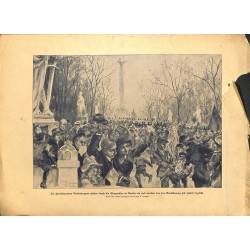 2228 WWI print 1914/18-Berlin End of War soliders back home Siegesallee,size:23,5 x 32,5 cm,this print comes from the germ