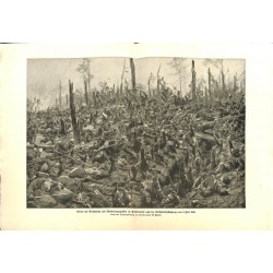 2244	 WWI print 1914/18-	Priesterwald 1915 german soldiers storm french trench	,size:	47 x 32,5 cm		,this print comes from the g