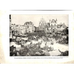 2250	 WWI print 1914/18-	Mecheln market place beglium soldiers POW	,size:	23,5 x 32,5 cm		,this print comes from the german book