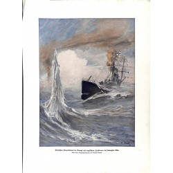 2252	 WWI print 1914/18-	German torpedo ship in fight with english destroyer stormy sea	,size:	47 x 32,5 cm		,this print comes f