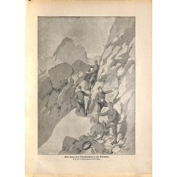 2256 WWI print 1914/18-Dolomit telephone connection mountains austro-hungarian soliders,size:47 x 32,5 cm, printed on norma
