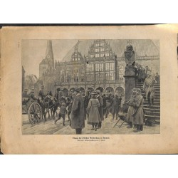 2277	 WWI print 1914/18-	Division Gerstenberg in Bremen german soldiers	,size:	23,5 x 32,5 cm	, printed on normal paper-	,this p