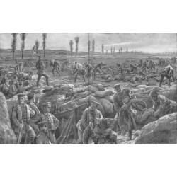 2291	 WWI print 1914/18-	battlefield germand & french soldiers help each other	,size:	47 x 32,5 cm		,this print comes from the g