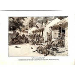 "2293	 WWI print 1914/18-	german soldiers fight serbian village	,size:	23,5 x 32,5 cm		,this print comes from the german book ""Il"