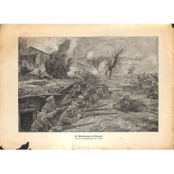 2294	 WWI print 1914/18-	Bauquois german soldiers trench french storm	,size:	23,5 x 32,5 cm	, printed on normal paper-missing pi