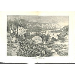 2304 WWI print 1914/18-bridge Görz austro-hungarian soldiers,size:47 x 32,5 cm, printed on normal paper-,this print comes