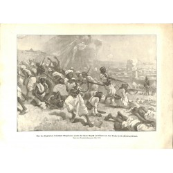 2307 WWI print 1914/18-Loheia native people armed by English Army attacked by Turkish soldiers,size:23,5 x 32,5 cm,this pr