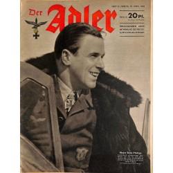 0629 DER ADLER -No.8-1943 vintage German Luftwaffe Magazine Air Force WW2 WWII