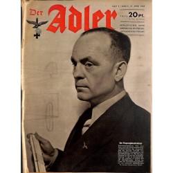 0630 DER ADLER -No.9-1943 vintage German Luftwaffe Magazine Air Force WW2 WWII