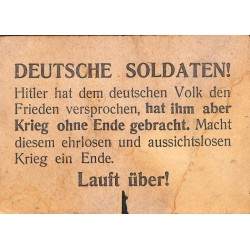 2792	 WWII Russia leaflet ca. 1943	-	Deutsche Soldaten		russian leaflet for german soldiers on the Eastern Front