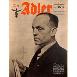 0633 DER ADLER -No.9-1943 vintage German Luftwaffe Magazine Air Force WW2 WWII