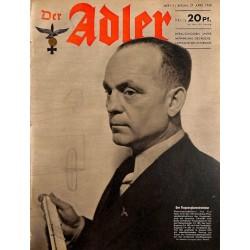 0634 DER ADLER -No.9-1943 vintage German Luftwaffe Magazine Air Force WW2 WWII
