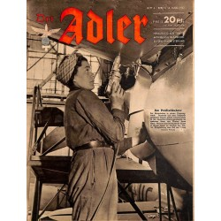 0635	 DER ADLER	 -No.	6	-1943	 vintage German Luftwaffe Magazine Air Force WW2 WWII