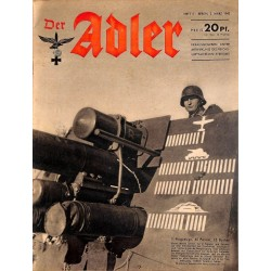 0638	 DER ADLER	 -No.	5	-1943	 vintage German Luftwaffe Magazine Air Force WW2 WWII