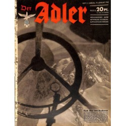0644	 DER ADLER	 -No.	2	-1943	 vintage German Luftwaffe Magazine Air Force WW2 WWII
