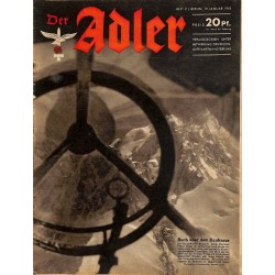 0646	 DER ADLER	 -No.	2	-1943	 vintage German Luftwaffe Magazine Air Force WW2 WWII