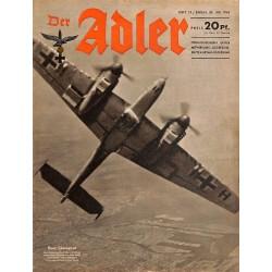 0654 DER ADLER -No.15-1943 vintage German Luftwaffe Magazine Air Force WW2 WWII