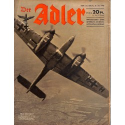 0655	 DER ADLER	 -No.	15	-1943	 vintage German Luftwaffe Magazine Air Force WW2 WWII