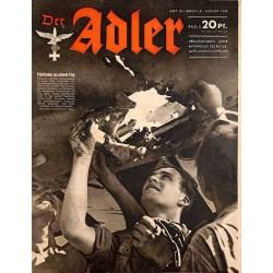 0661 DER ADLER -No.18-1943 vintage German Luftwaffe Magazine Air Force WW2 WWII