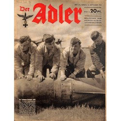 0665	 DER ADLER	 -No.	19	-1943	 vintage German Luftwaffe Magazine Air Force WW2 WWII