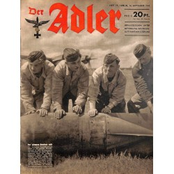 0666	 DER ADLER	 -No.	19	-1943	 vintage German Luftwaffe Magazine Air Force WW2 WWII