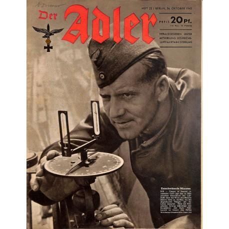 0667 DER ADLER -No.22-1943 vintage German Luftwaffe Magazine Air Force WW2 WWII