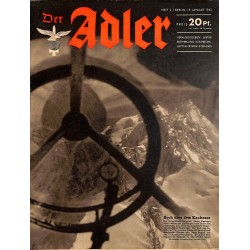 0687	 DER ADLER	 -No.	2	-1943	 vintage German Luftwaffe Magazine Air Force WW2 WWII