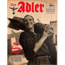 0689	 DER ADLER	 -No.	18	-1941	 vintage German Luftwaffe Magazine Air Force WW2 WWII