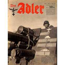 0716	 DER ADLER	 -No.	5	-1943	 vintage German Luftwaffe Magazine Air Force WW2 WWII