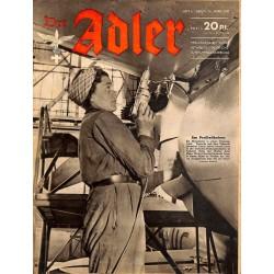 0717 DER ADLER -No.6-1943 vintage German Luftwaffe Magazine Air Force WW2 WWII