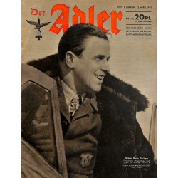 0718	 DER ADLER	 -No.	8	-1943	 vintage German Luftwaffe Magazine Air Force WW2 WWII
