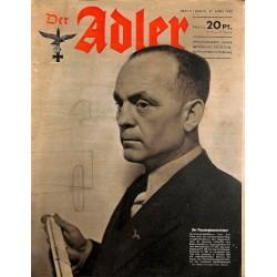 0719 DER ADLER -No.9-1943 vintage German Luftwaffe Magazine Air Force WW2 WWII