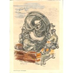 7527 Original Third Reich print 1940's WWII -Am Horchgerät