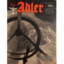 0728 DER ADLER -No.2-1943 vintage German Luftwaffe Magazine Air Force WW2 WWII