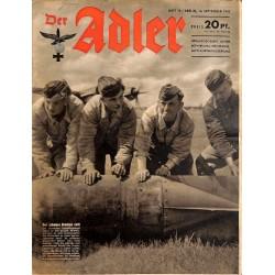 0732 DER ADLER -No.19-1943 vintage German Luftwaffe Magazine Air Force WW2 WWII