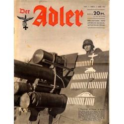 0738 DER ADLER -No.5-1943 vintage German Luftwaffe Magazine Air Force WW2 WWII