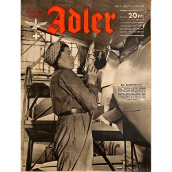 0739	 DER ADLER	 -No.	6	-1943	 vintage German Luftwaffe Magazine Air Force WW2 WWII