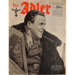 0743	 DER ADLER	 -No.	8	-1943	 vintage German Luftwaffe Magazine Air Force WW2 WWII