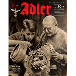 0748	 DER ADLER	 -No.	2	-1942	 vintage German Luftwaffe Magazine Air Force WW2 WWII