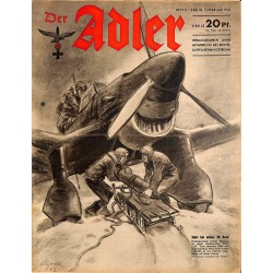 0749	 DER ADLER	 -No.	3	-1942	 vintage German Luftwaffe Magazine Air Force WW2 WWII