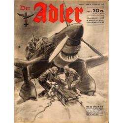 0749 DER ADLER -No.3-1942 vintage German Luftwaffe Magazine Air Force WW2 WWII