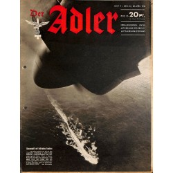 0750	 DER ADLER	 -No.	9	-1942	 vintage German Luftwaffe Magazine Air Force WW2 WWII