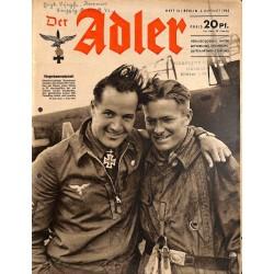 0758 DER ADLER -No.16-1942 vintage German Luftwaffe Magazine Air Force WW2 WWII
