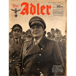 0764	 DER ADLER	 -No.	1	-1943	 vintage German Luftwaffe Magazine Air Force WW2 WWII