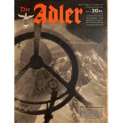 0765 DER ADLER -No.2-1943 vintage German Luftwaffe Magazine Air Force WW2 WWII