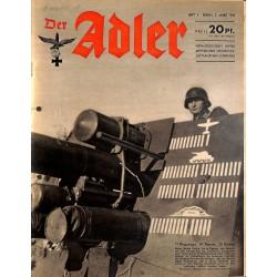 0768 DER ADLER -No.5-1943 vintage German Luftwaffe Magazine Air Force WW2 WWII