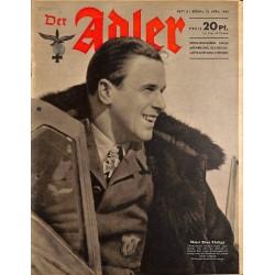 0771 DER ADLER -No.8-1943 vintage German Luftwaffe Magazine Air Force WW2 WWII