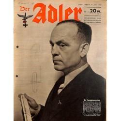 0772 DER ADLER -No.9-1943 vintage German Luftwaffe Magazine Air Force WW2 WWII